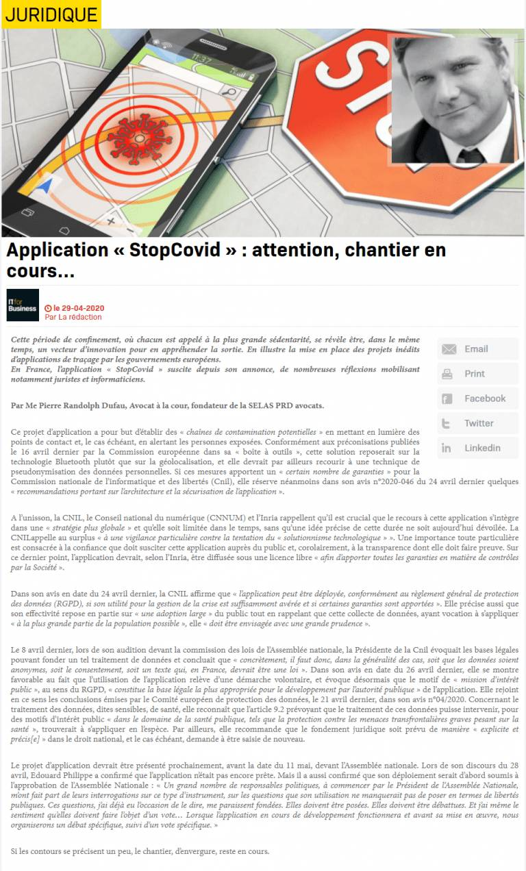 Application «Stop Covid» : attention, dossier en cours…