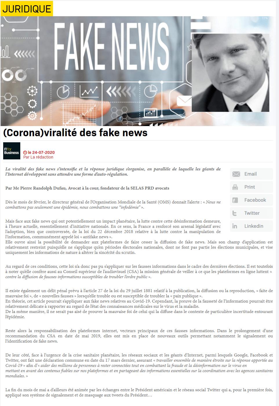 (Corona)viralité des fake news