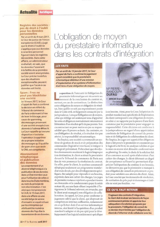 La obligación de medios del proveedor informático en los contratos de integración