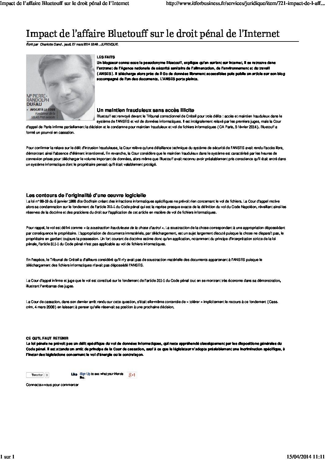 Impacto del caso Bluetouff en el derecho penal de Internet