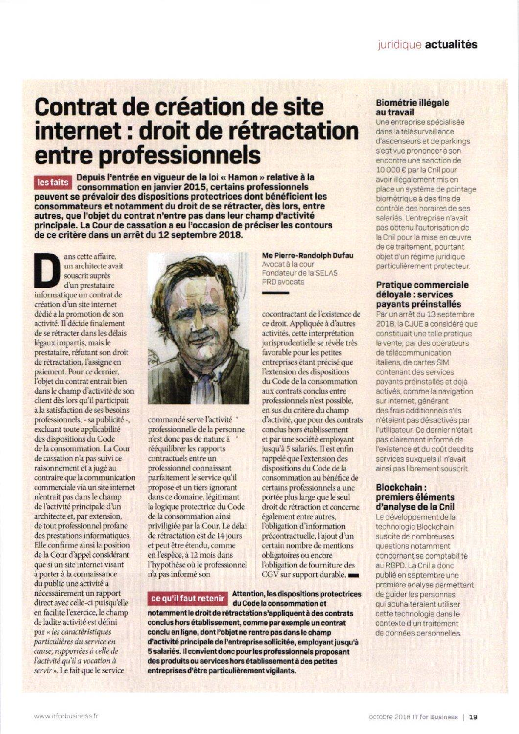 Contrat de création de site internet : droit de rétractation entre professionnels