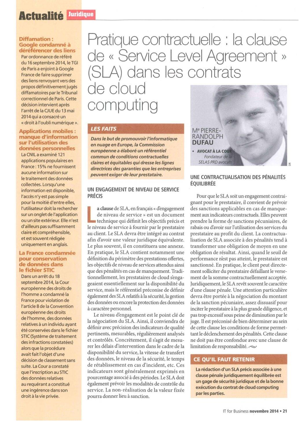 """Contractual practice: the """"Service Level Agreement"""" clause in cloud computing contracts"""