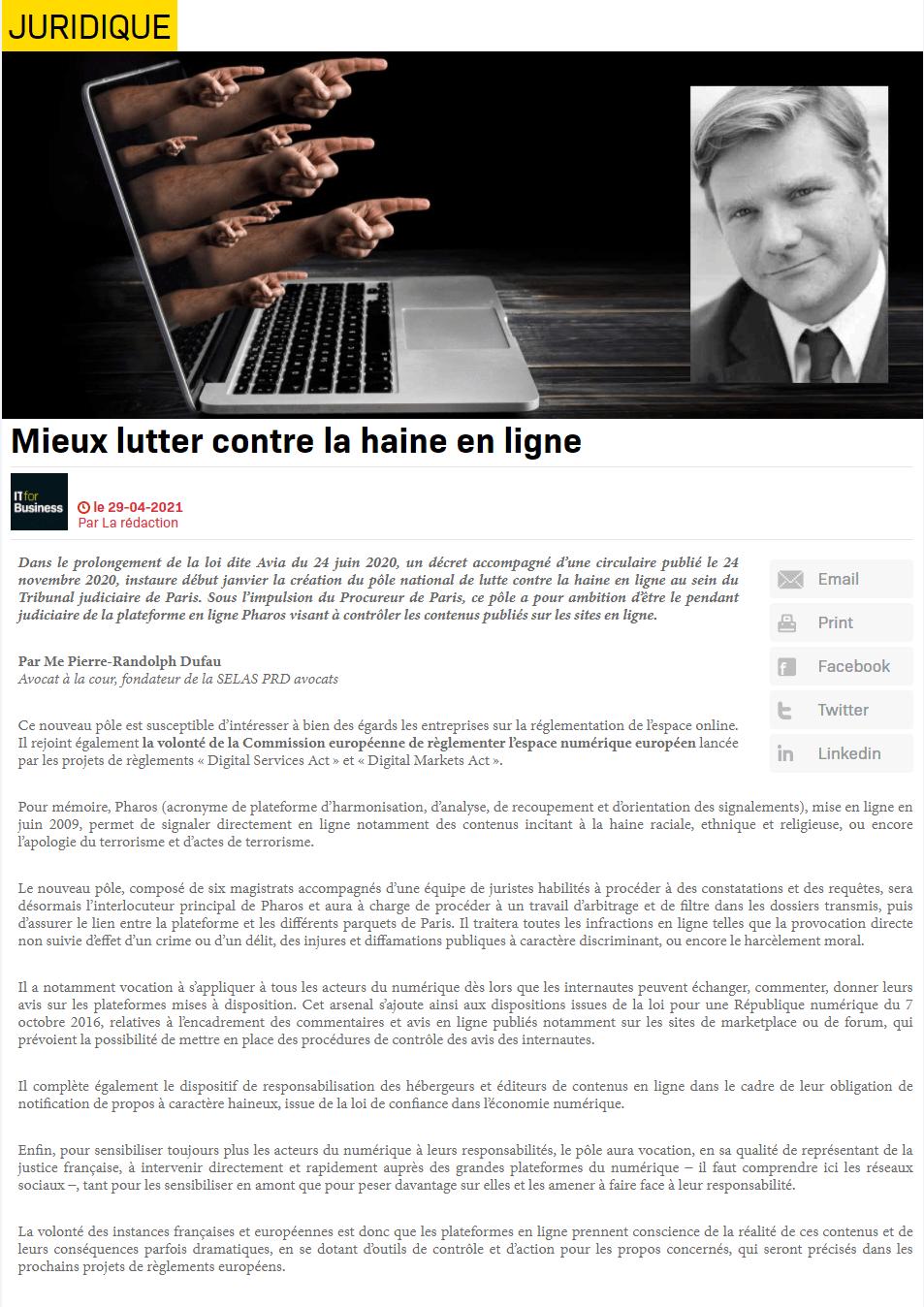 Mieux lutter contre la haine en ligne