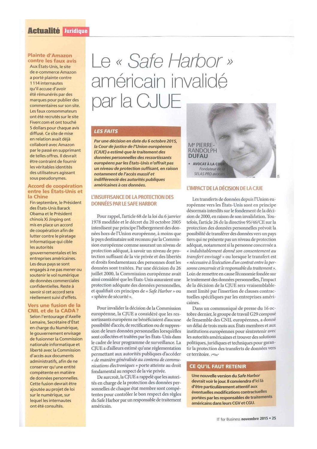 """The American """"Safe Harbor"""" invalidated by the CJEU"""