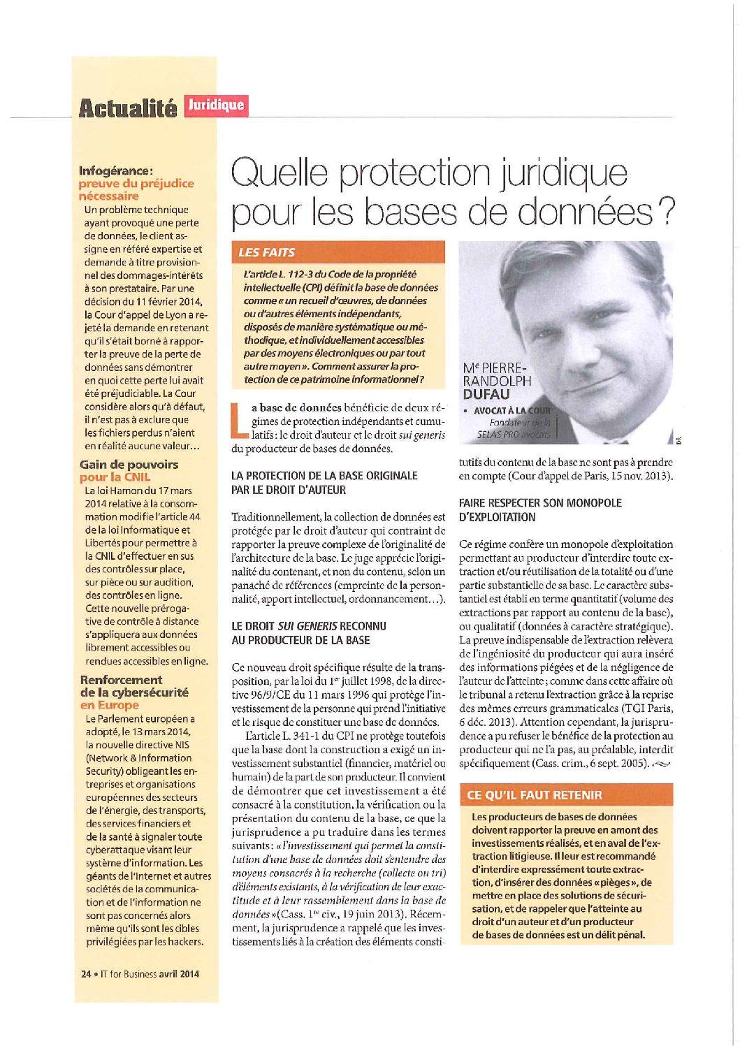 Quelle protection juridique pour les bases de données?