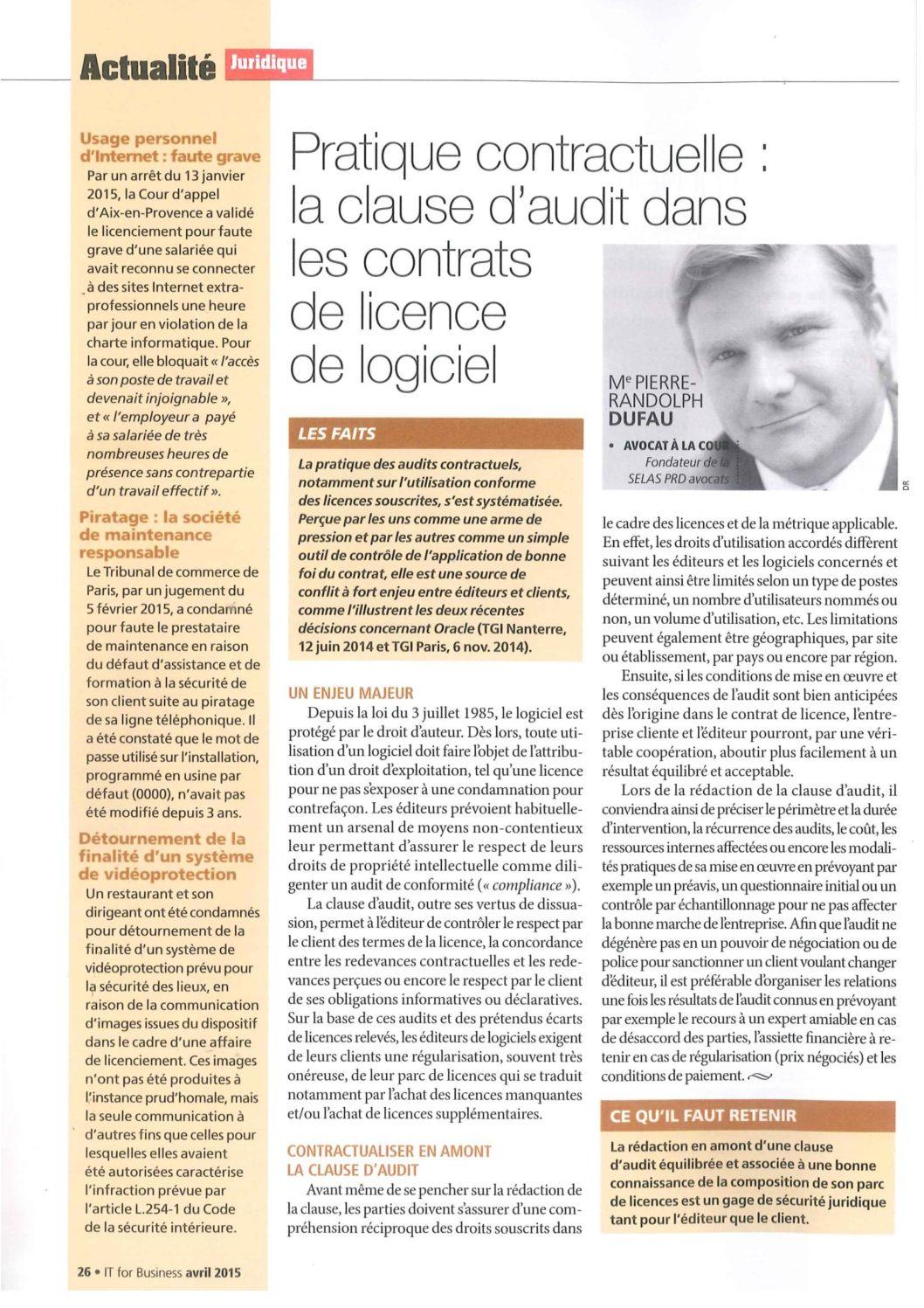 Pratique contractuelle : la clause d'audit dans les contrats de licence de logiciel