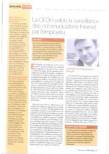 la CEDH valide la surveillance des communications internet par l'employeur