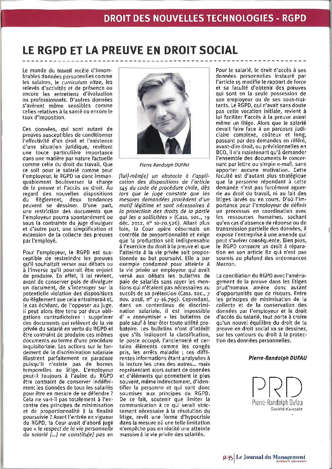 Le RGPD et la preuve en droit social