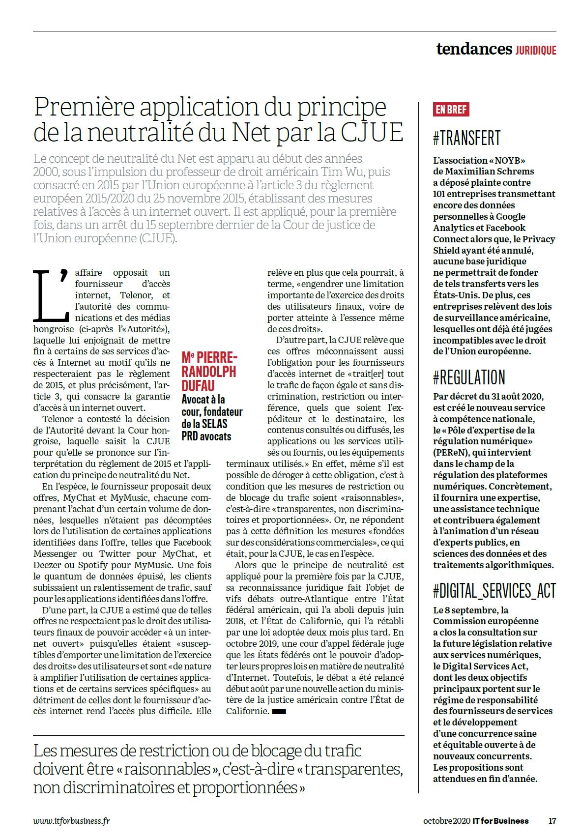 Première application du principe de la neutralité du NET par la CJUE